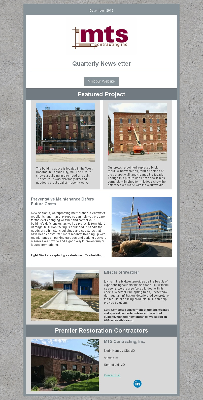 Cleaning and masonry work done on old building in the West Bottoms in Kansas City, MO. New sealants, waterproofing membranes, clear water repellants, and masonry repairs.